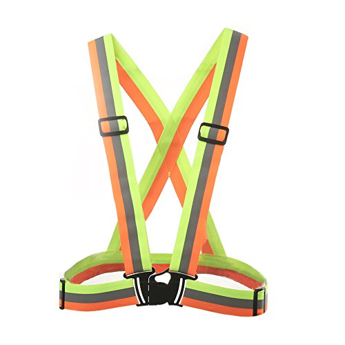 ink2055 Adjustable Safety Vest Reflective Site Work Clothing Elastic Strap Jacket for Outdoor Running Cycling