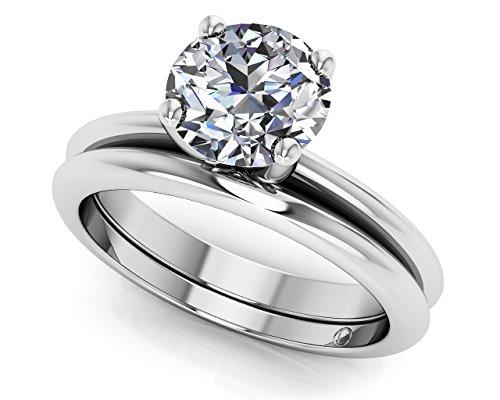 14K Or blanc à quatre branches intemporel Solitaire de mariage Ensemble