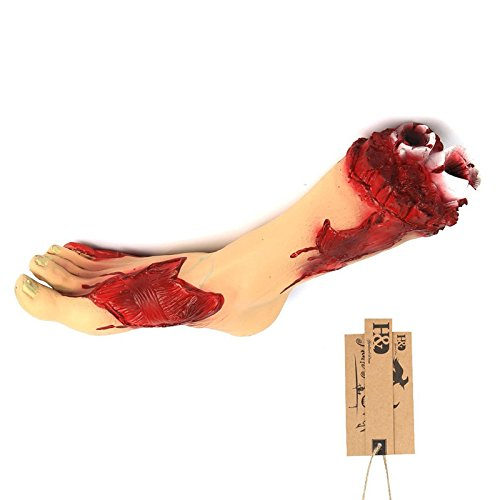 Severed Foot Fake Body Parts,Creepy Bloody Halloween Props Party Decoration Supplies, 11.5