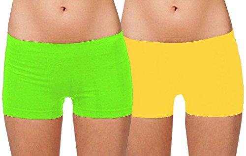 Hollywood Star Fashion Women's Short Length Slipshort Dance Short (One Size, 2 Pack: Lime Green & Yellow) ()