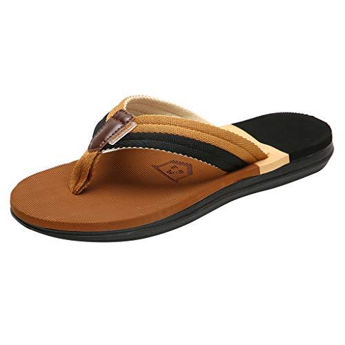 HTHJSCO Men's Flip-Flops Thongs Sandals Comfort Slippers Beach Shoes Outdoor Antiskid Shoes (9, Khaki) from HTHJSCO