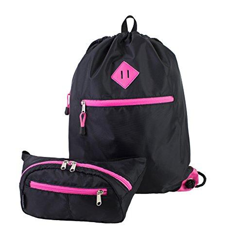 Eastsport Durable Sport Drawstring Bag with BONUS Belt Bag/Fanny Pack for camp, travel, hiking, cycling, gym (Black/Pink) For Sale