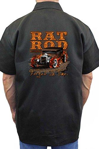 Men's Mechanic Work Shirt Rat Rod Froged in Time Black ()