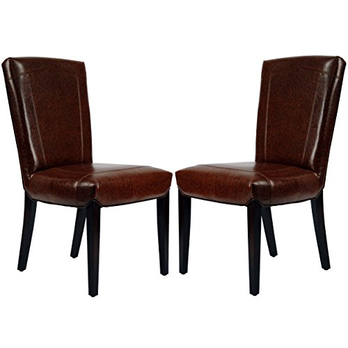 Safavieh Hudson Collection Greenwich Marbled Leather Side Chairs, Brown, Set of 2