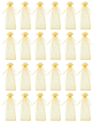 - Wine Organza Bags - 24-Pack Drawstring Wine Bottle Organza Bags -Wine Wrapping Bags for Decoration, Storefront Display, Gift Bags, Party Favors - Gold, 14.5 x 5.5 inches