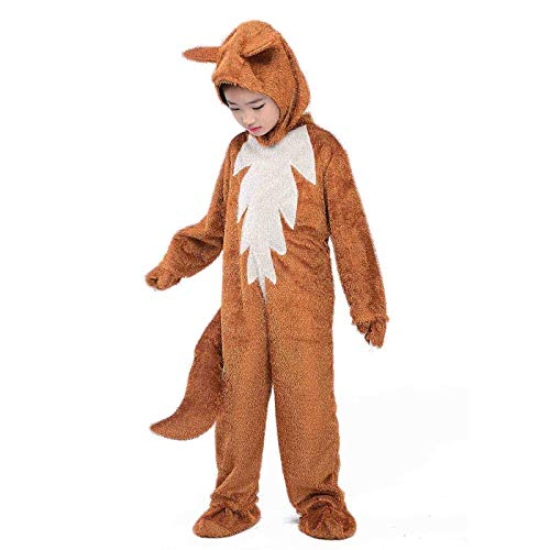 Fox Costumes Kids Animals Cosplay Halloween Fancy Dress Child Jumpsuit with Tail and Ears Outfit (Fox, -