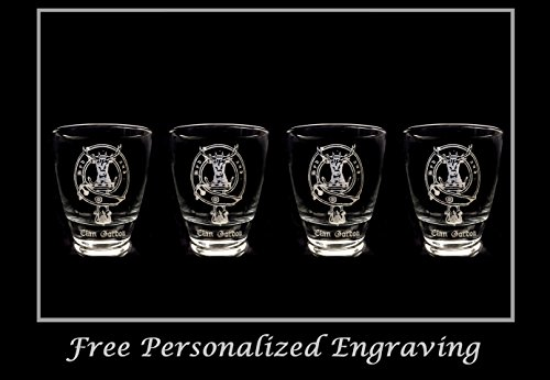 (Clan Gordon Scottish Crest Clear Lowball Rocks Glass 10oz - Set of 4 - Free Personalized Engraving, Celtic Decor, Scottish Glass)