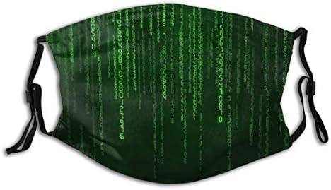 LUBATAGA Hintergrund in einem Matrix-Stil Staubwaschbarer wiederverwendbarer Filter und wiederverwendbarer Mund Warmes winddichtes Baumwollgesicht