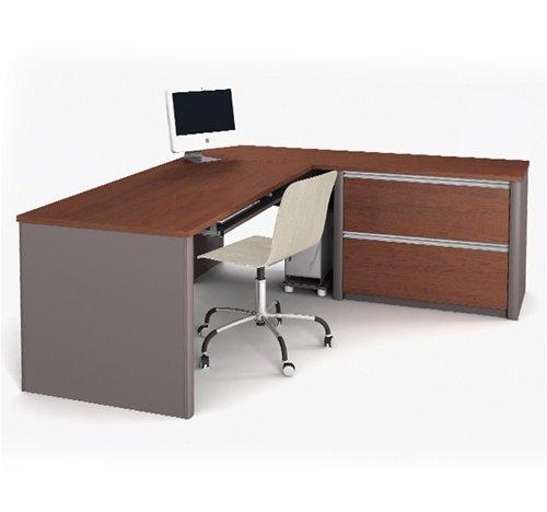 - Bordeaux & Slate L-shaped Corner Computer Desk with Oversized Pedestal