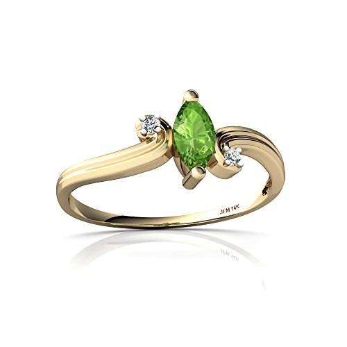 14kt Yellow Gold Peridot and Diamond 6x3mm Marquise Ocean Waves Ring - Size - Ring Wave Gold Diamond