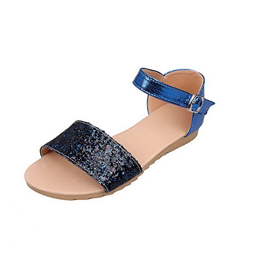 AmoonyFashion Womens Open Toe Frosted PU Solid Sandals Blue 1BI8r2Q