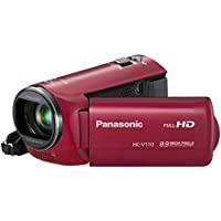 Panasonic HC-V110P-R 38X Optical Zoom 8.9 MP Still Image HD Camcorder (Red)