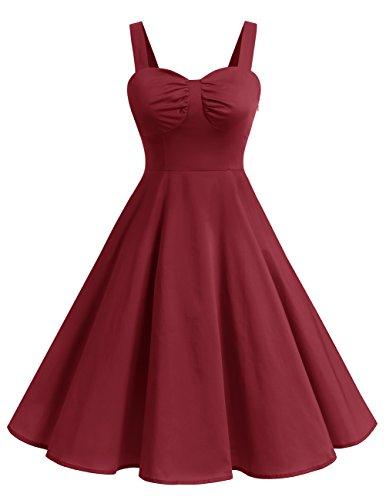 de 0 Hepburn avec Vintage Version5 Bordeaux 1950's Bretelles Dresstells Robe Audrey Cocktail soire x5X0qnHw