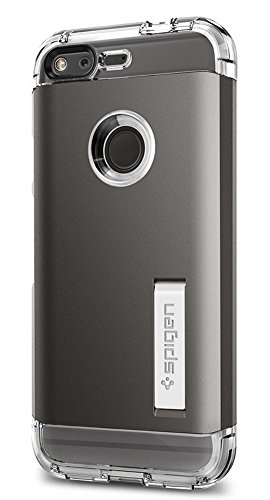 Spigen Tough Armor Google Pixel Case with Kickstand and Heavy Duty Air Cushion Technology Protection for Google Pixel 2016 - Gunmetal