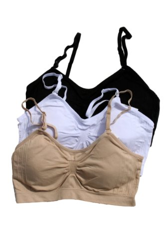 Anemone Women's Seamless Removable Bra Straps 3PK (One size, Black White Nude)