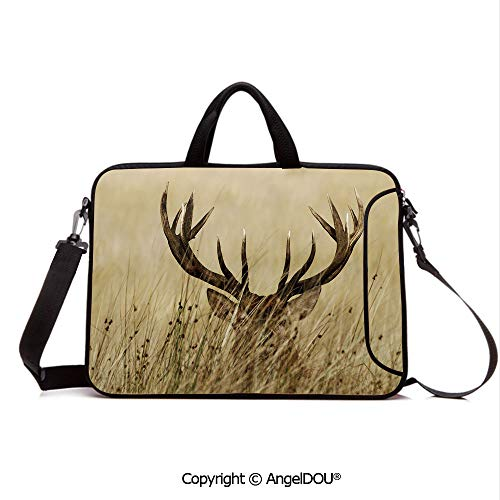 - AngelDOU Neoprene Laptop Shoulder Bag Case Sleeve with Handle and Extra Pocket Whitetail Deer Fawn in Wilderness Stag Countryside Rural Hunting Theme Compatible with MacBook/Ultrabook/HP/Acer/Asus/D