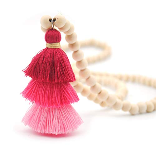 - Bohemian Long Strand Necklace Tiered Layered Tassel Thread Fringe Beads Chain Women Girls Red