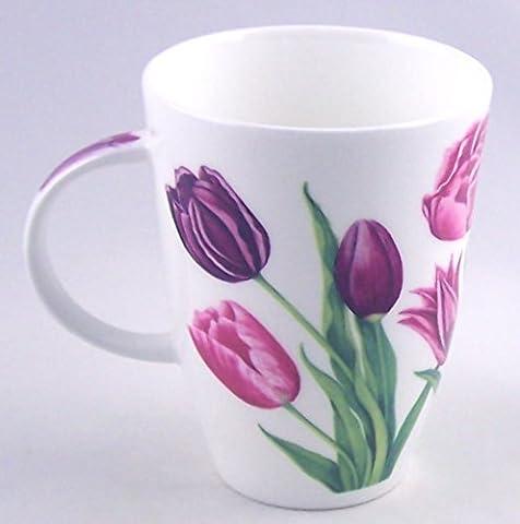 Lavender Tulip Chintz Fine English Bone China Mug - Large 14 ounce Louise Shape - England - Tulip Shape