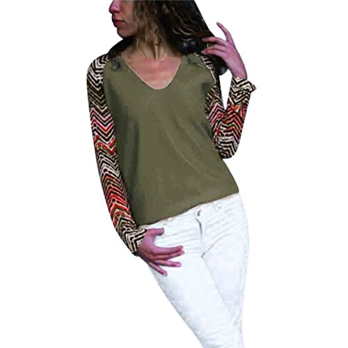 Elegante Scollo Pullover Donna Lunghe ABCone a Pulsante Casual Camicette Stampa Autunno Felpa Maniche Tops V di Esercito Camicie Verde T Shirt con g0qq56wW