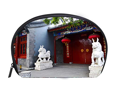 Portable Toiletry Cosmetic Bag A Beijing Hutong house entrance with a big red gate red lanterns and sculpture of two stone unicorns Ladies Travel Convenience Small Wash Bag Storage -