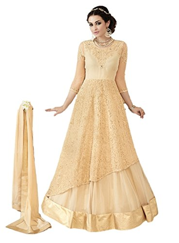 Ethnicwear Stylish Trendy Georgett Cream Embroidery Stone Work Wedding Party Reception Wear Women Anarkali Lehanga Dress