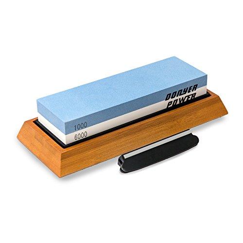 Donyer Power Whetstone Knife Sharpening Stone Kit 1000/6000 Grit Premium Knife Sharpener with Non-Slip Bamboo Base and Free Angle (Sharpening Stone Kit)