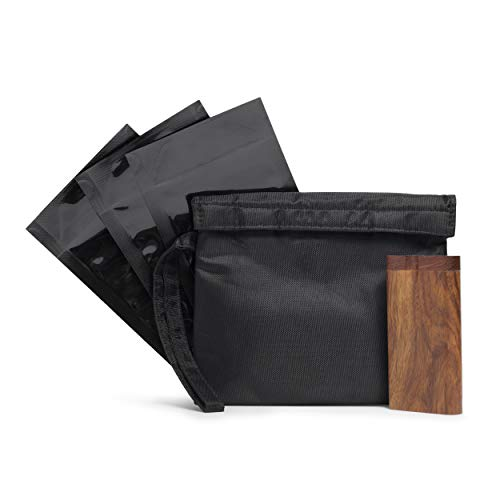 Smell Proof Bag with Raw Wood Stash Box and Baggies