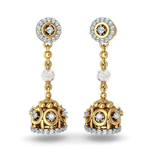 14K Or jaune 0,48CT TW White-diamond (IJ | SI) et blanc perle Pendants d'oreilles