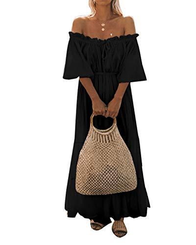 Celmia Women Off Shoulder Long Dress Puff Sleeve Beach Loose Maxi Dresses Black01 5XL ()
