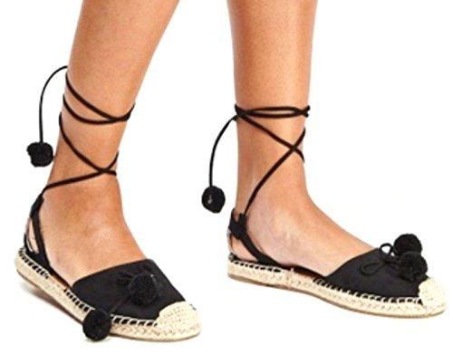 Definitely You Ladies Womes Flat Pom Pom Espadrille Sandals Lace up Beach Summer Shoes Size Black JwSNgSqHOC
