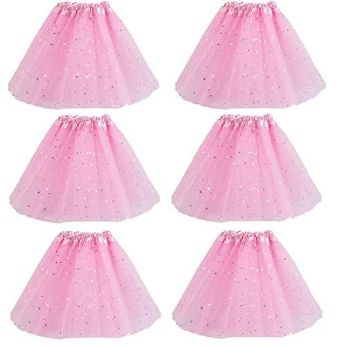 kilofly 6pc Pink Girls Ballet Tutu Kids Birthday Princess Party Favor Dress Skirt -