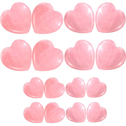 Frienda 18 Pieces Heart Healing Stone Rose Quartz Worry Stone Pocket Palm Stone Polished Stone Crystal for Home Decor, Jewelry Making, Pink, 2 Sizes ()