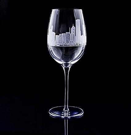 New York Subway Map Drinking Glass 16oz.Amazon Com Chicago Skyline Engraved On Crystal Wine Glass Pair