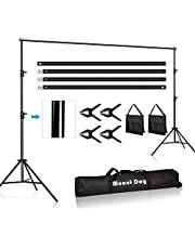 MOUNTDOG 3M x 3M/10ft x 10ft Photo Backdrop Stand Kit Photography Studio Background Support System with 4 Clamps Carrying Case Heavy Duty Stand for Video Shooting Portrait
