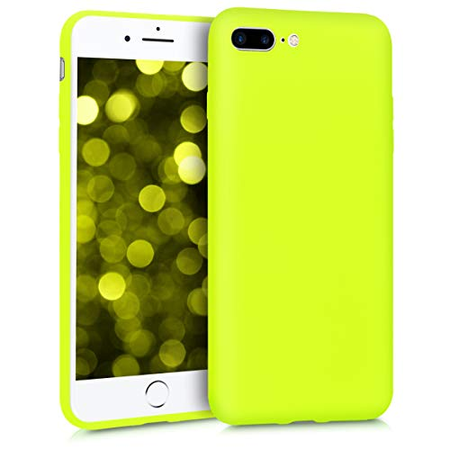 kwmobile TPU Silicone Case for Apple iPhone 7 Plus / 8 Plus - Soft Flexible Shock Absorbent Protective Phone Cover - Neon Yellow