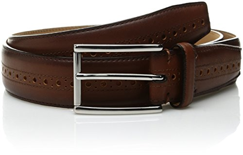 Cole Haan Men's 32mm Stitched Pressed Edge Belt with Perf Detail, British Tan, 36 (Mens British Tan Leather Belt compare prices)