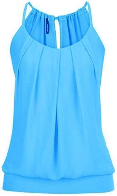 Proumy Camiseta de Tirantes Mujer Camisola Plisada Chaleco ...