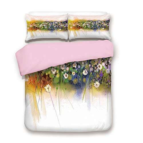 iPrint Pink Duvet Cover Set,Full Size,Vogue Display Wisteria Violets Wreath Fragrant Plants Herbs Artsy,Decorative 3 Piece Bedding Set with 2 Pillow Sham,Best Gift for Girls Women,Multi