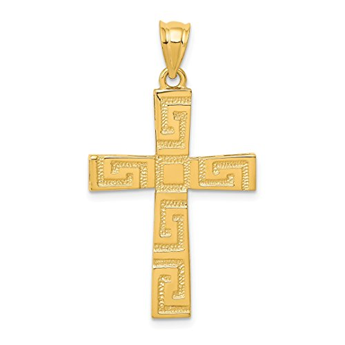 14k Yellow Gold Greek Key Cross Religious Pendant Charm Necklace Latin Fine Jewelry For Women Gift Set