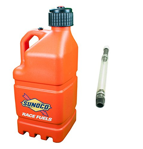 sunoco-race-fuels-5-gallon-racing-utility-jug-with-deluxe-filler-hose-kit-orange-made-in-the-usa