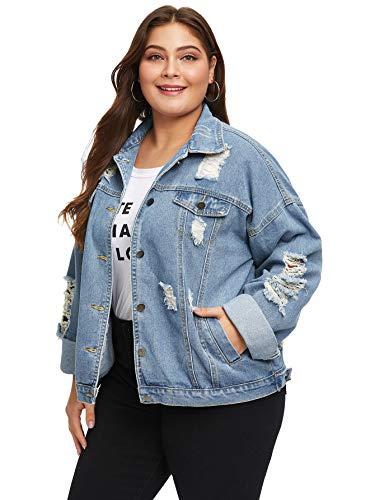 Floerns Women's Plus Size Ripped Distressed Long Sleeve Denim Jacket Blue-1 0XL