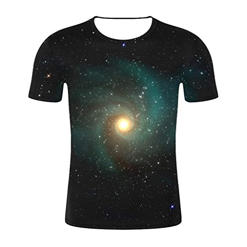 Sharemen Unisex 3D Print T-Shirt Short Sleeve Crewneck Digital Galaxy Tee for Men and Women(Black,3XL)