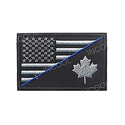 Virtue Embroidery Patch USA American Flag w/Canada Flag Army