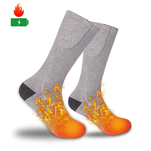 ZLTFashion Electric Heated Socks - Cordless Portable Rechargeable Infrared Heating Cold Weather Thermal Socks Sport Outdoor Camping Hiking Warm Winter Socks for Men Women (Gray)