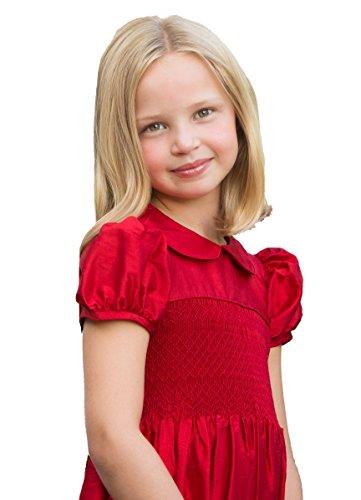 Strasburg Cherry - Strasburg Children Girls Red Flower Girl Dress Smocked Christmas Silk Formal Dresses (7)