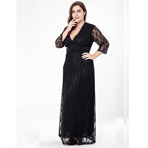 MA Vestido Largo Mujer Maxi de Noche de Boda Con Laces negro Compra ...
