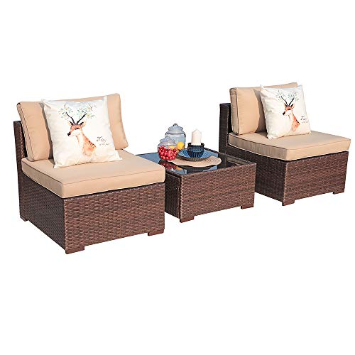 Patiorama 3PC Outdoor Patio Chairs All Weather Wicker Patio Loveseat with Glass Coffee Table, Beige