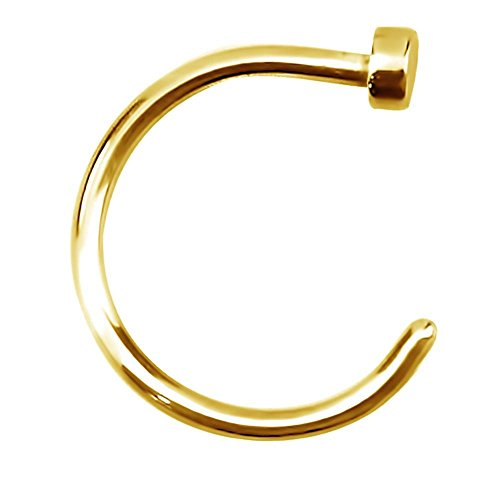 Forbidden Body Jewelry 20g 8mm Gold Tone Surgical Steel Perfect Basics Comfort Fit Nose Hoop ()