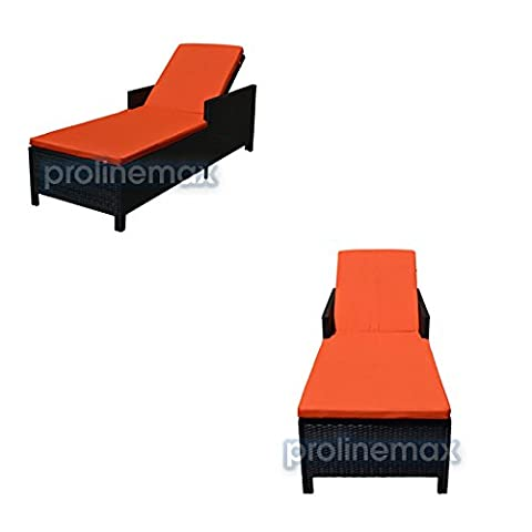 Pair (2) Black Wicker Rattan Single Sunbed Lounge Chair FOUR CUSHIONS Cover Included ORANGE (Indoor Chaise Chair Cover)