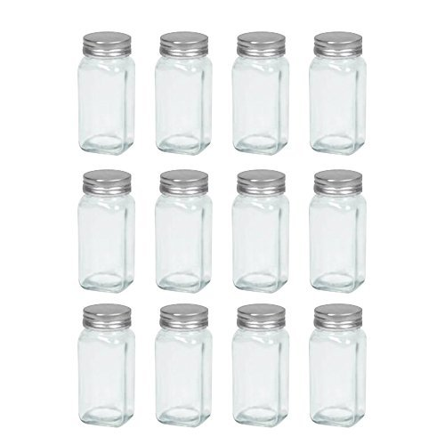 (Tundalaya: Set of 12 Glass Spice Jars, French Square, 4 ounces | Includes Shaker Tops and Lids (Perfect for DIY, Organization Projects, Homemade Spices, Pantry Projects and Gifting), Clear)